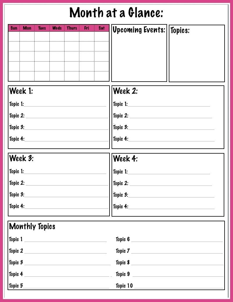 free printable month at a glance blog planner page to help
