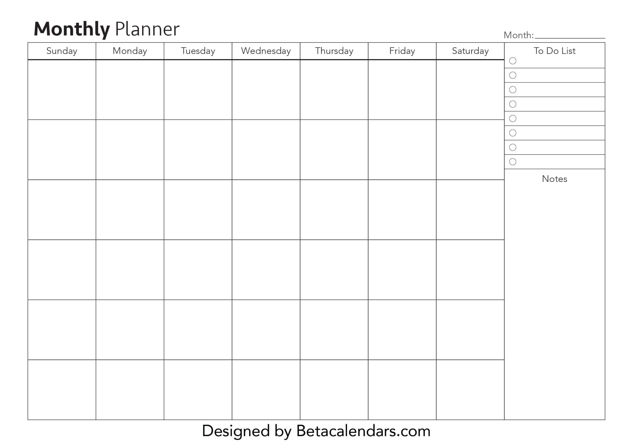 Free Printable Monthly Planner Beta Calendars