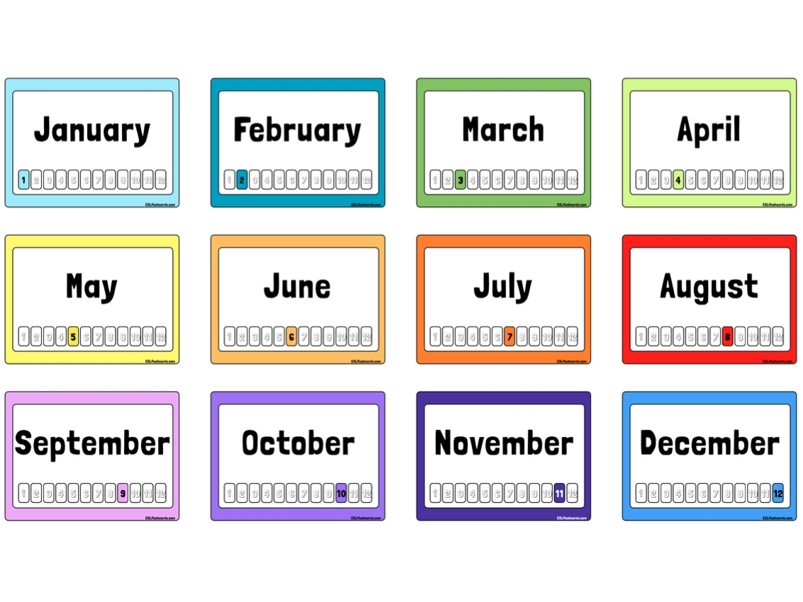 Free Printable Months Of The Year Flashcards | Months In A