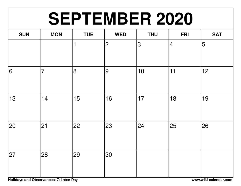 Free Printable September 2020 Calendars