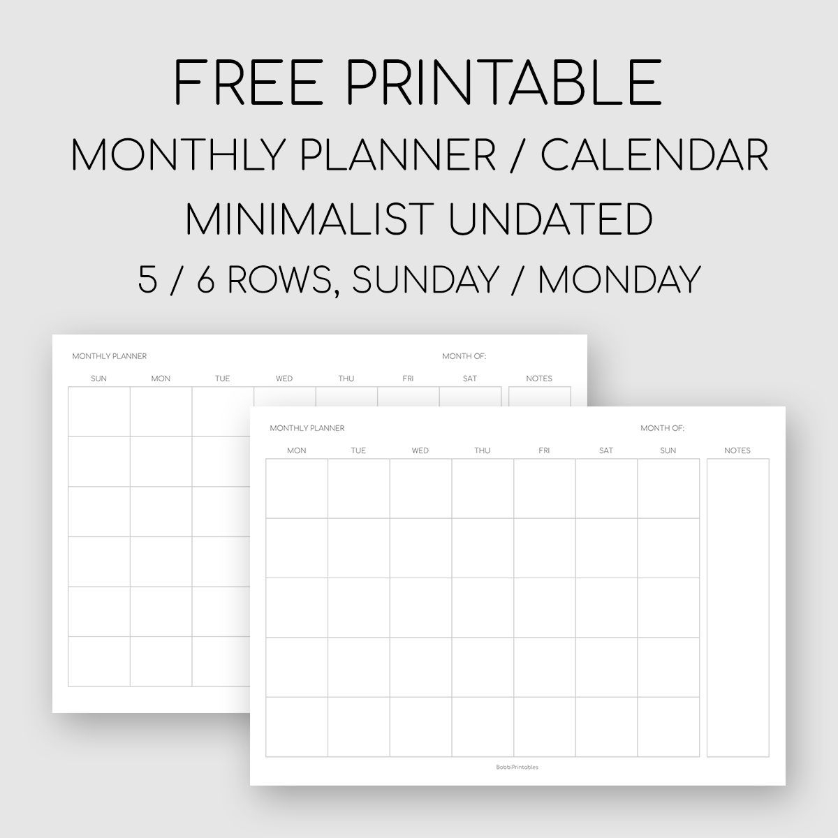 Free Printable Undated Monthly Calendar Di 2020