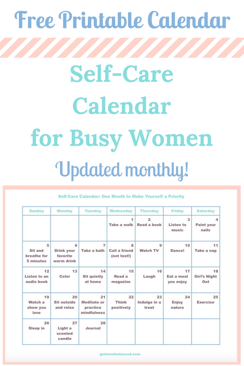 Free Self Care Calendar You Can Download This Printable