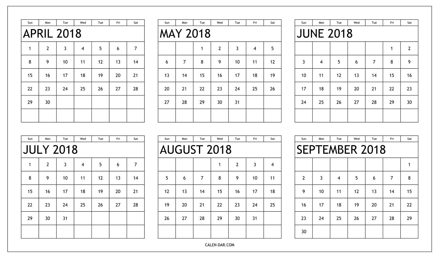 free six month 2018 calendar april to september printable