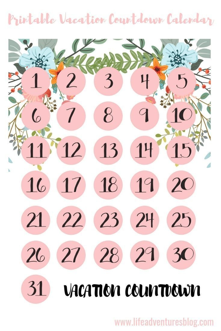 Free Vacation Countdown Calendar For Your Next Vacation