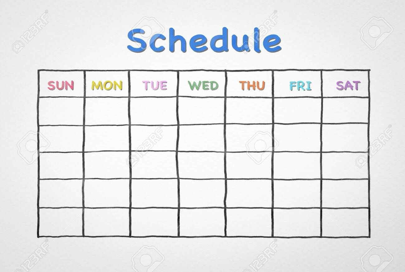 freehand pen doodle sketch drawing of blank monthly grid timetable