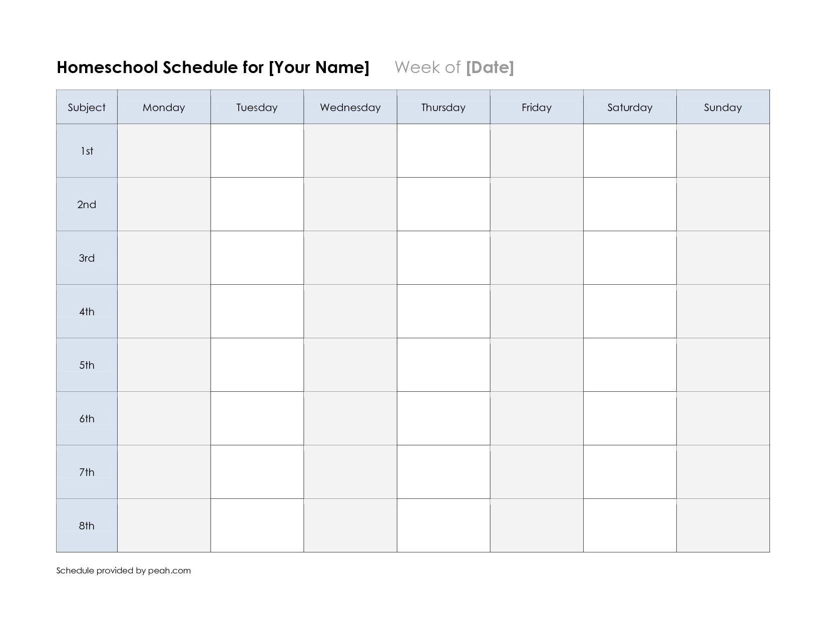 free printable weekly schedule calendar | weekly calendar