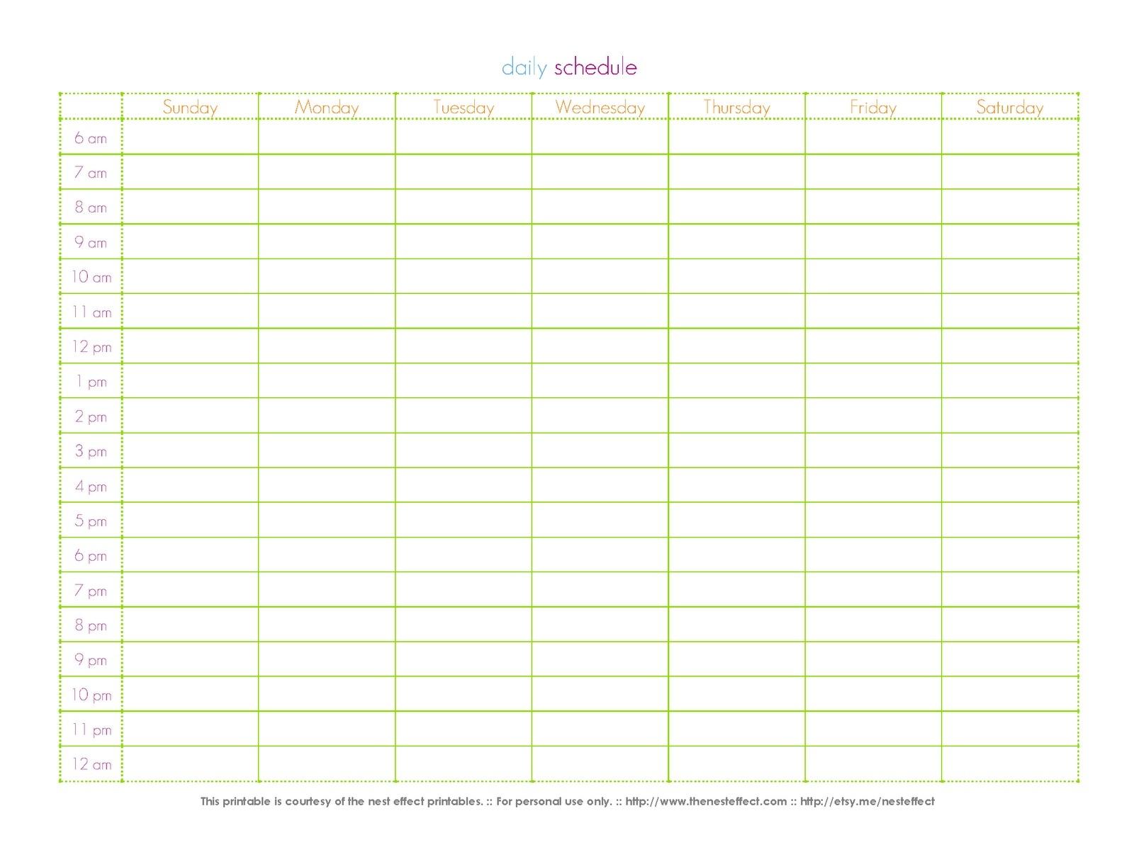 fresh 24 hour calendar template printable | free printable