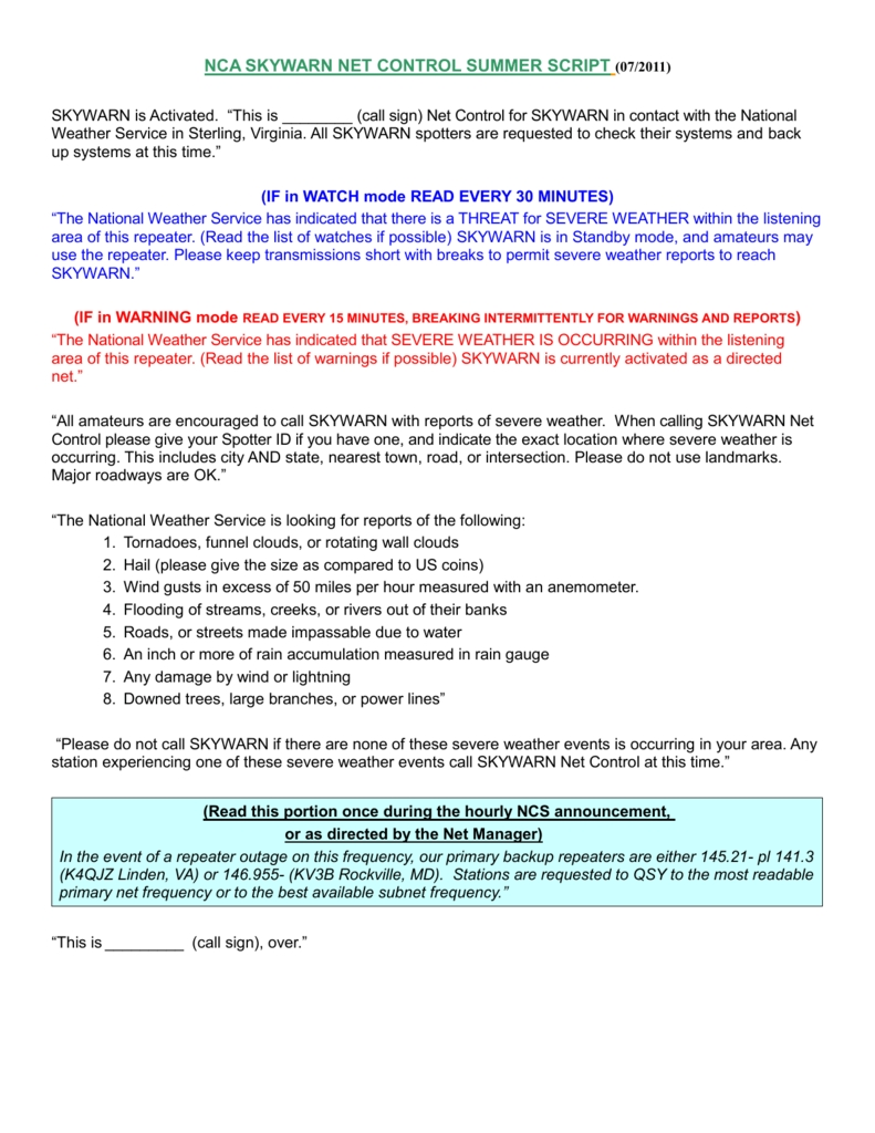 Full Script Pack In National Capital Area Skywarn Support
