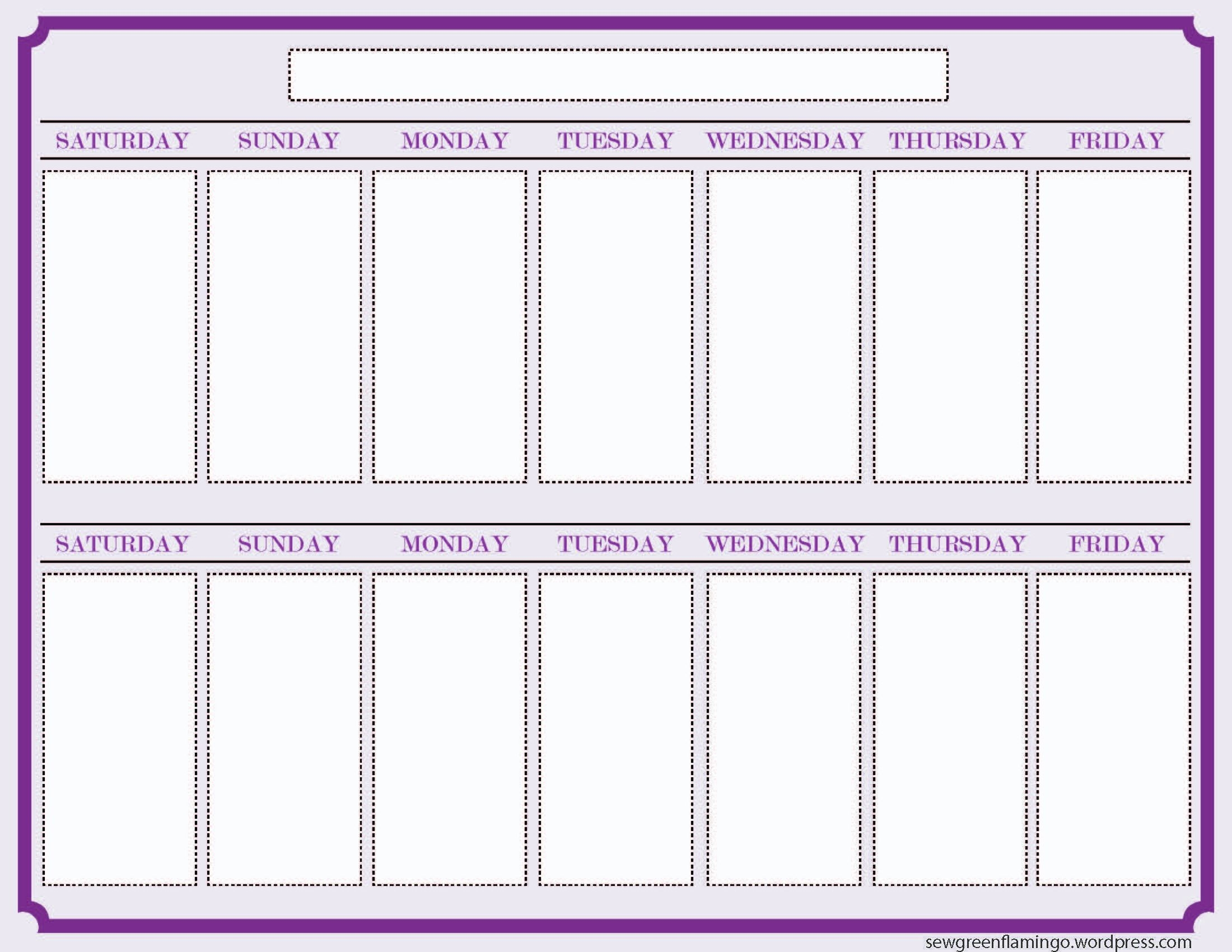 getting organized! 2 week planner | blank calendar template