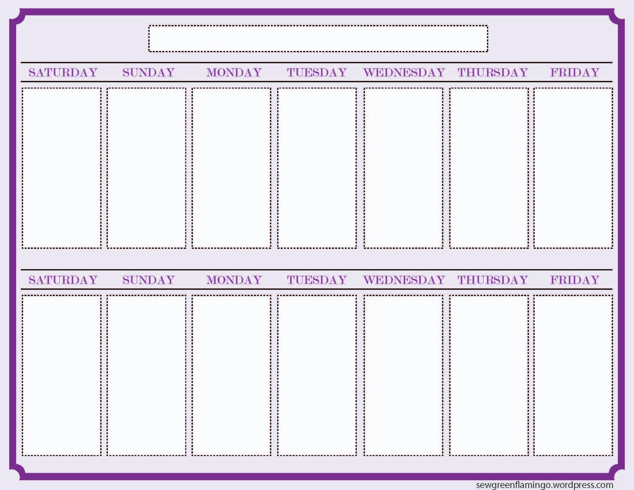 Getting Organized! 2 Week Planner   Blank Calendar Template