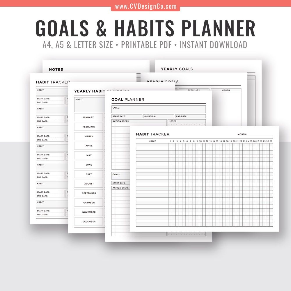 goal planner, yearly goals, habit tracker, yearly habit overview, notes, printable planner inserts, digital planner essentials, filofax a5, a4, letter