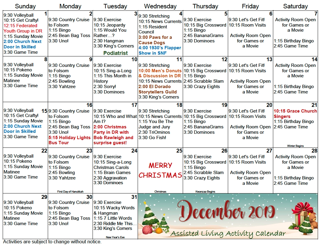 gold country al december calendar gold country retirement