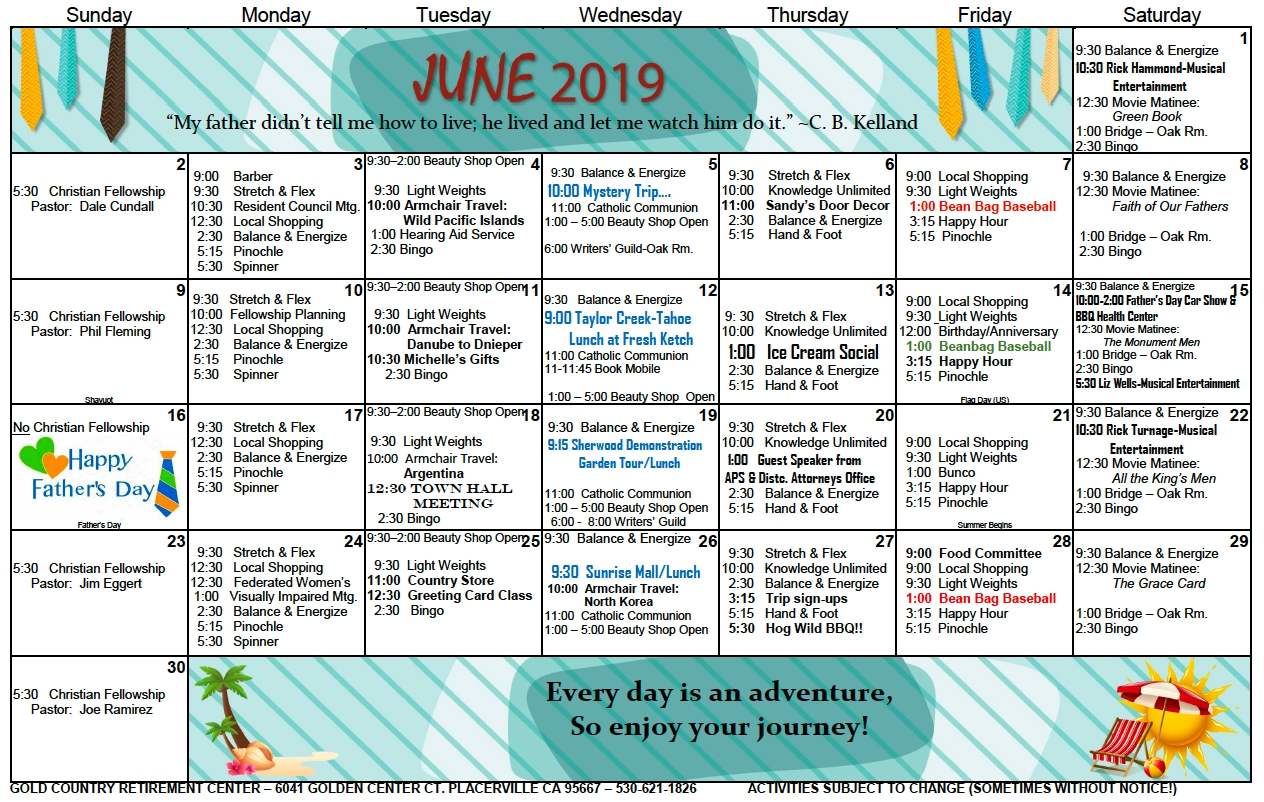 gold country independent living june 2019 activity calendar