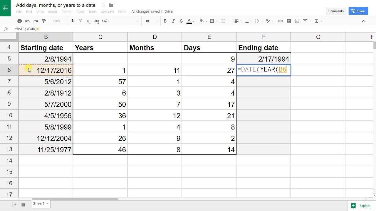 Google Sheets Add (or Subtract) Days, Months Or Years To A Date