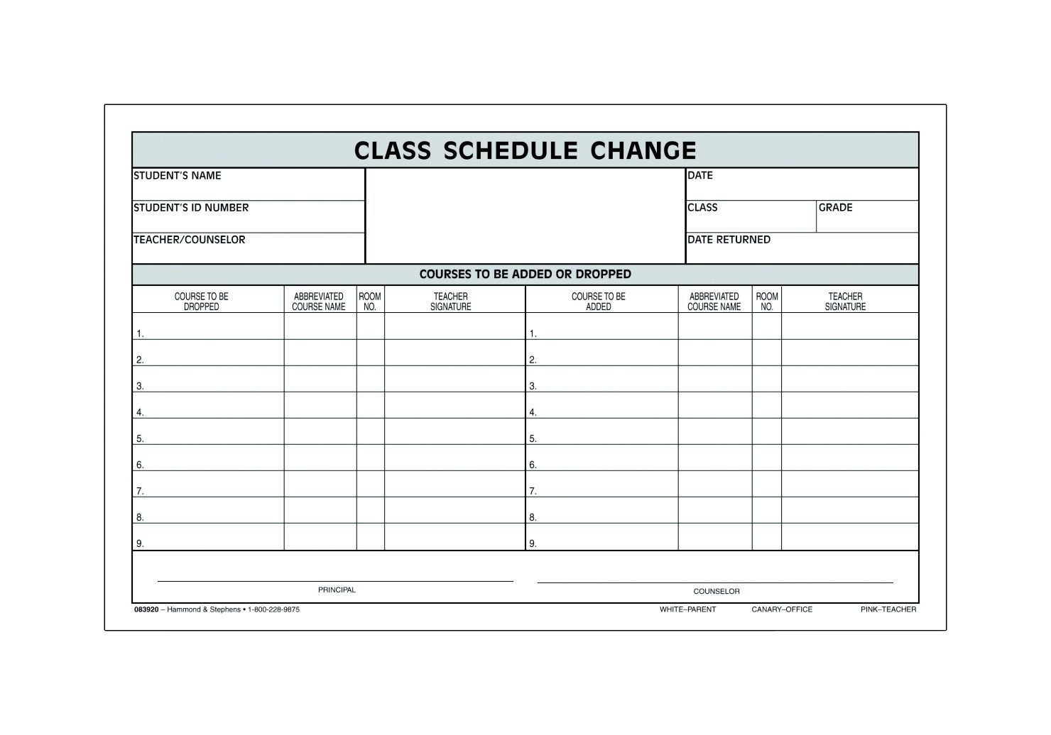 Hammond & Stephens 3 Parts Carbonless Class Schedule Change
