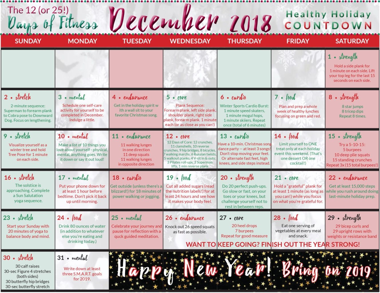Healthy Holiday Countdown Calendar | #neverdonewithfun