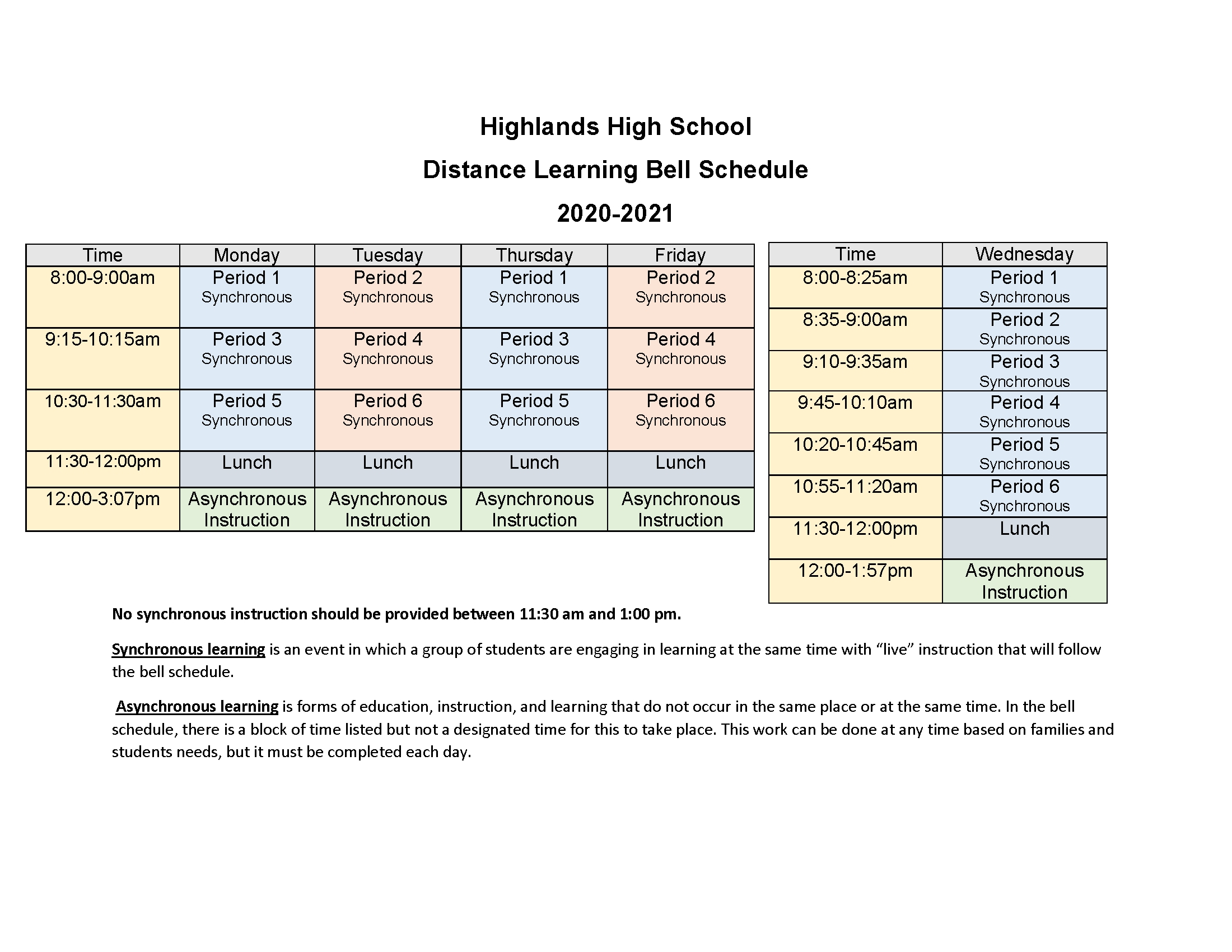 highlands high bell schedules
