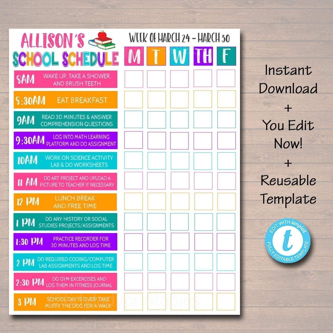 homeschool schedule daily weekly subject checklist