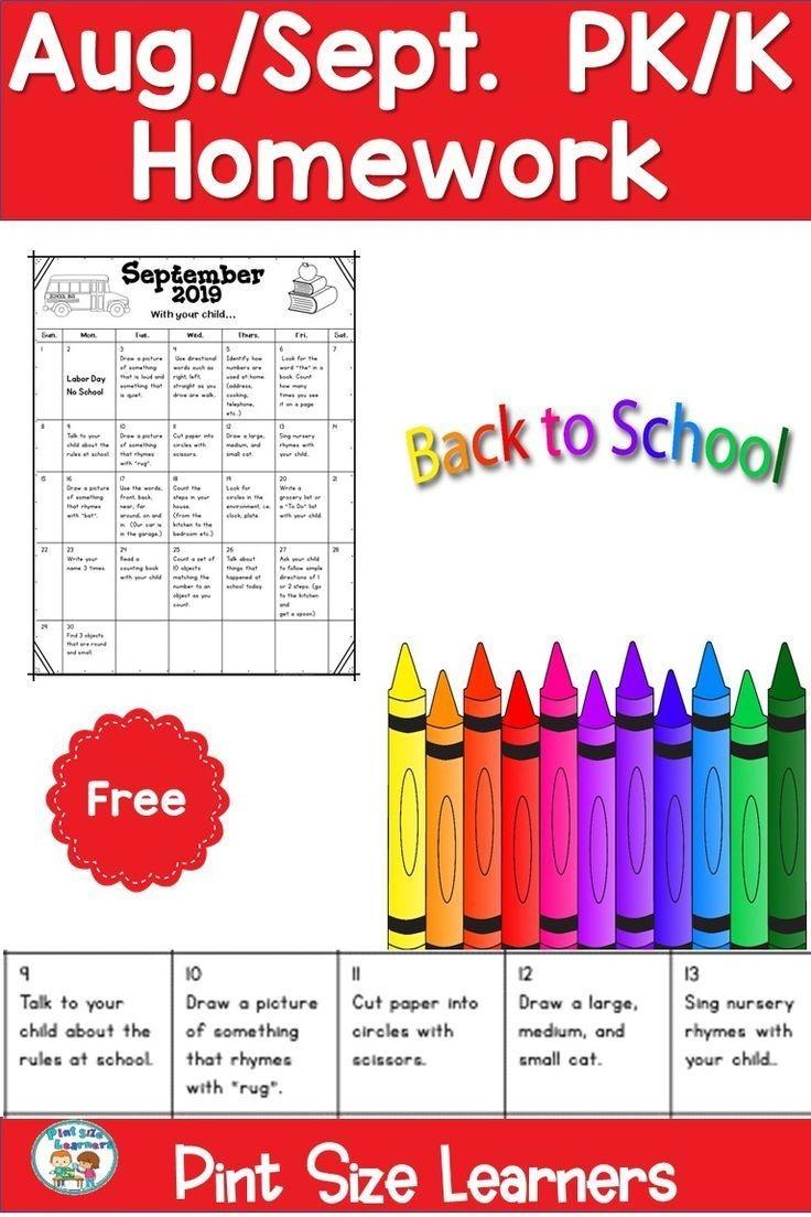 Homework Calendar Pre K Kindergarten August September Pk And