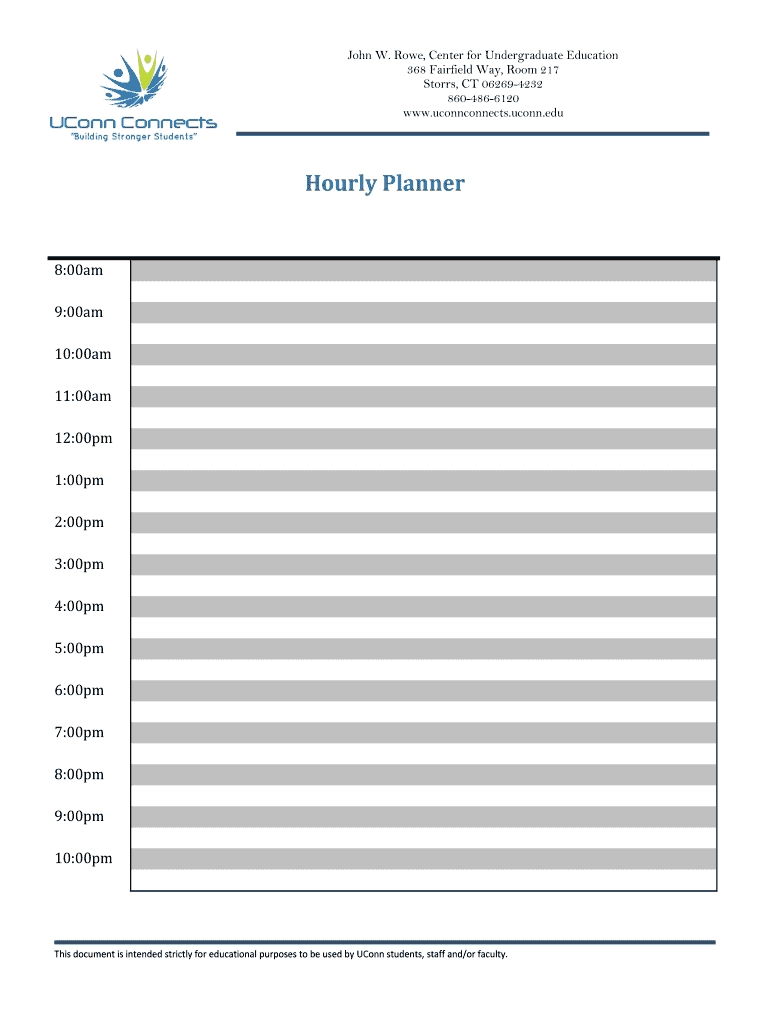 Hourly Planner Online Fill Online, Printable, Fillable