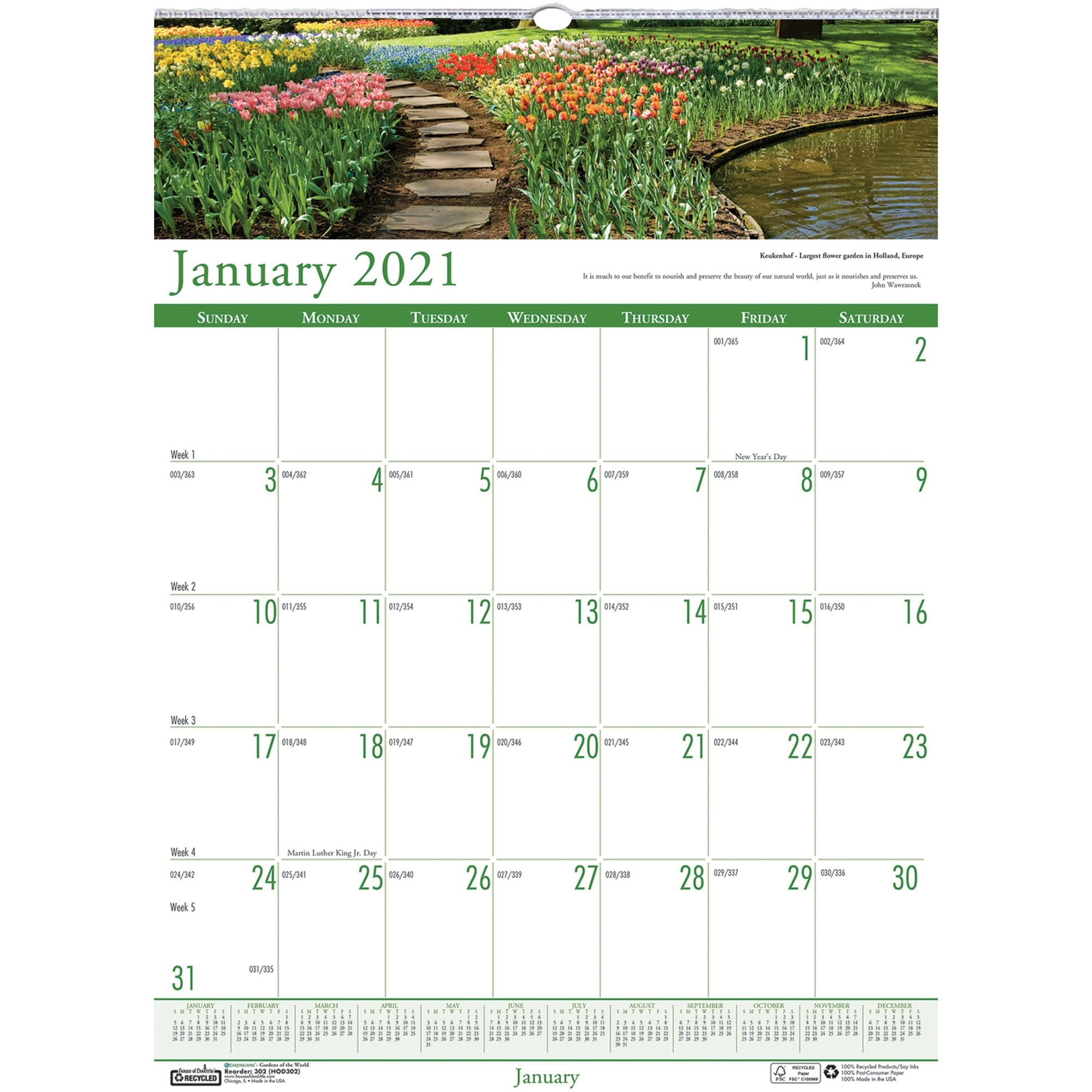 House Of Doolittle Earthscapes Gardens Wall Calendar Julian Dates Monthly 1 Year January 2021 Till December 2021 1 Month Single Page Layout