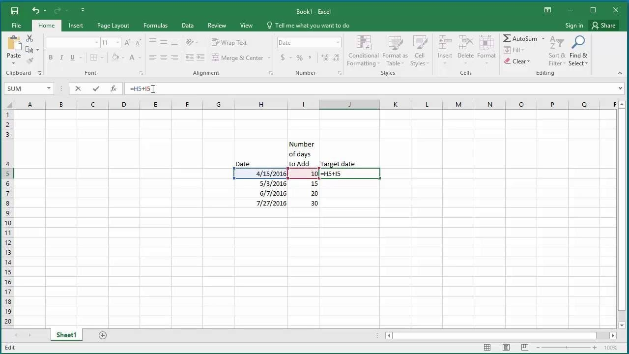 how to add number of days to a date in excel 2016