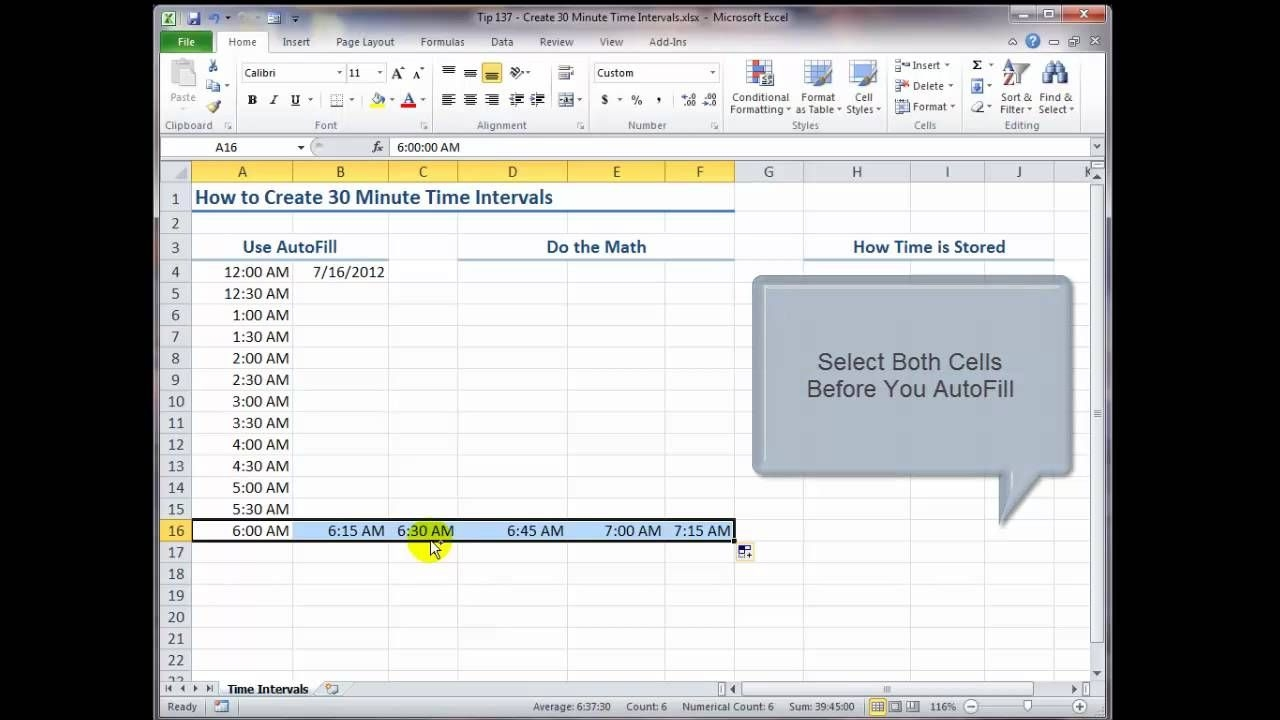 how to create 30 minute time intervals in excel