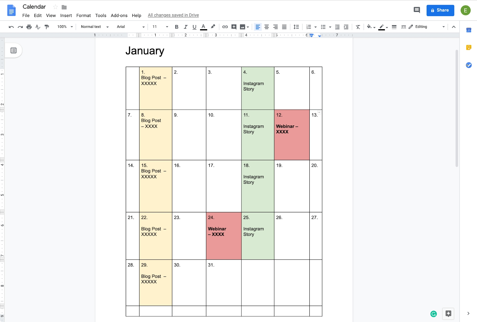 How To Create A Calendar In Google Docs | Copper