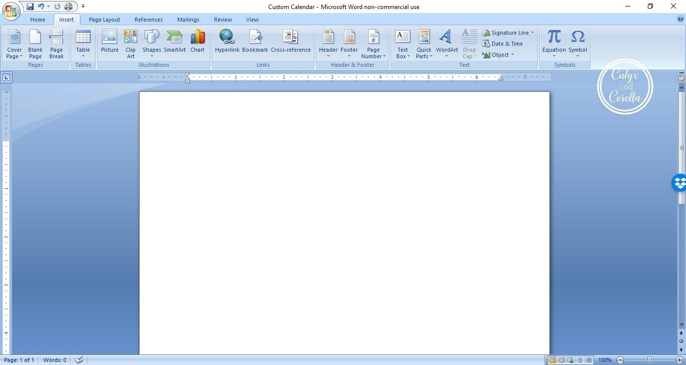 How To Create A Custom Calendar In Word Calyx & Corolla In