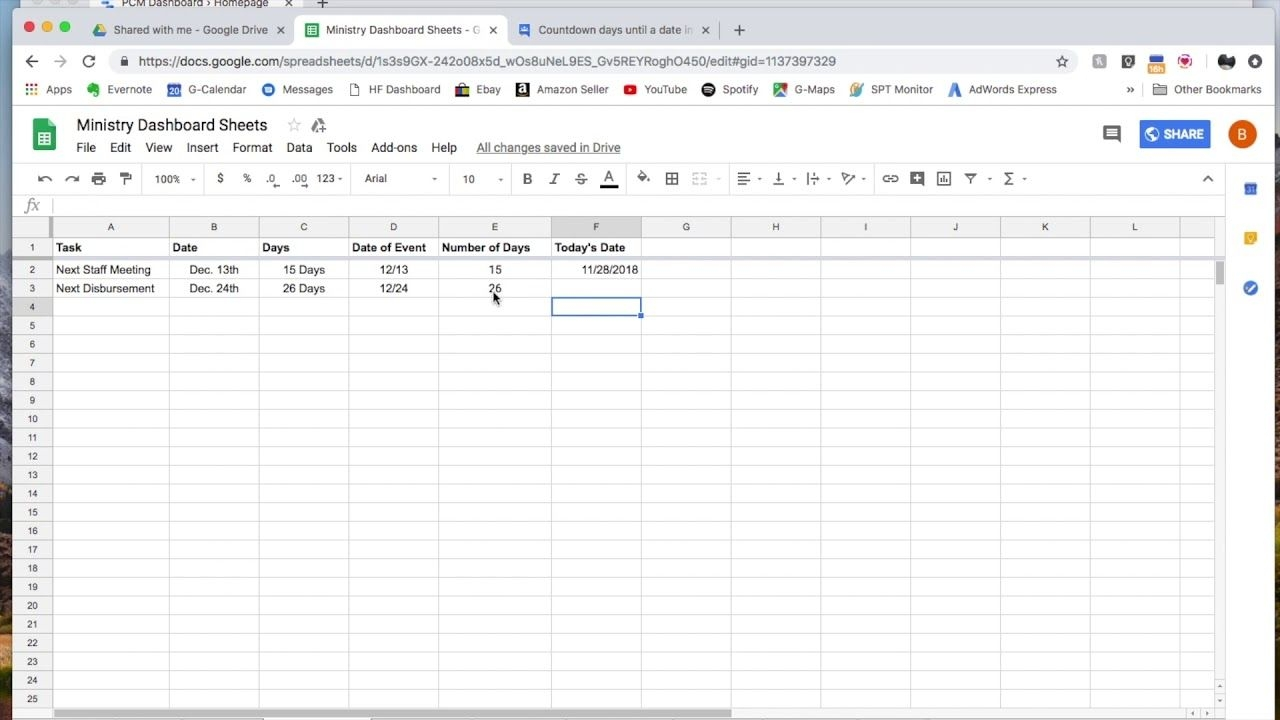 how to create a day countdown formula in google sheets