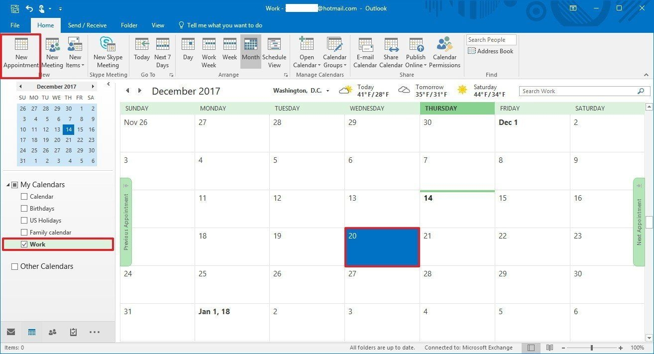 how to create an outlook 'out of office' calendar entry