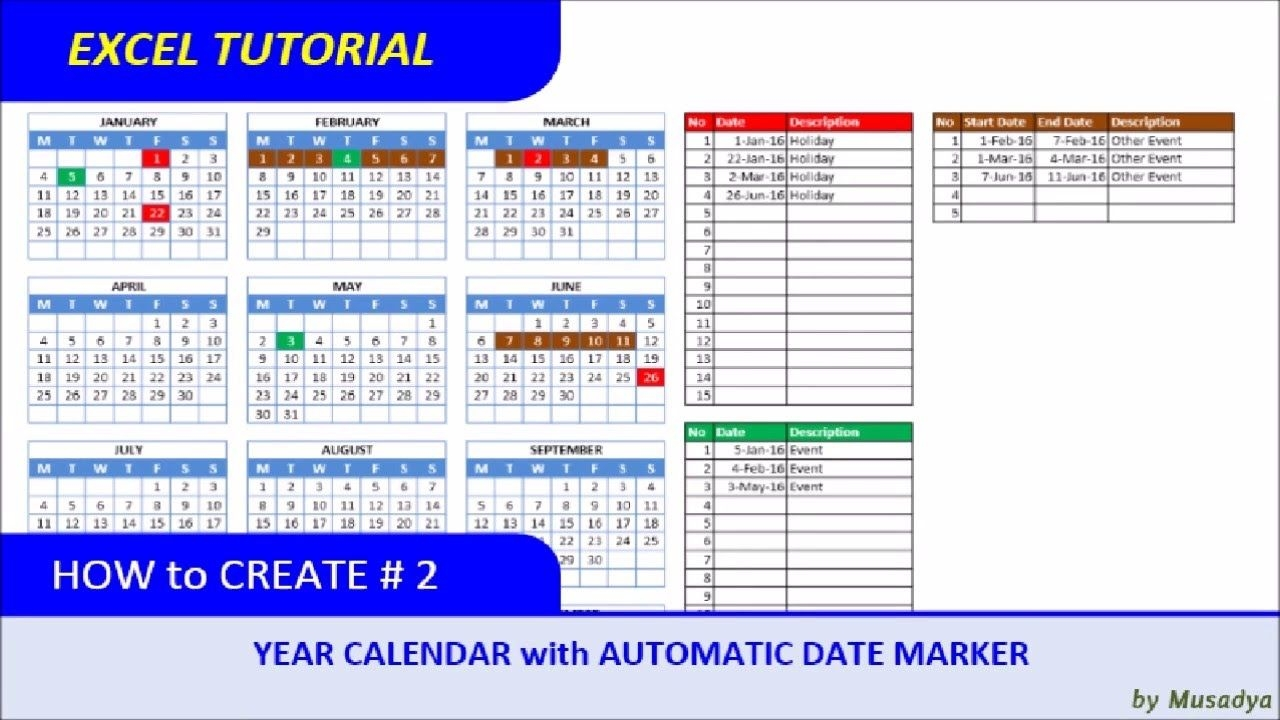 how to create excel calendar for specific year with automatic date marker