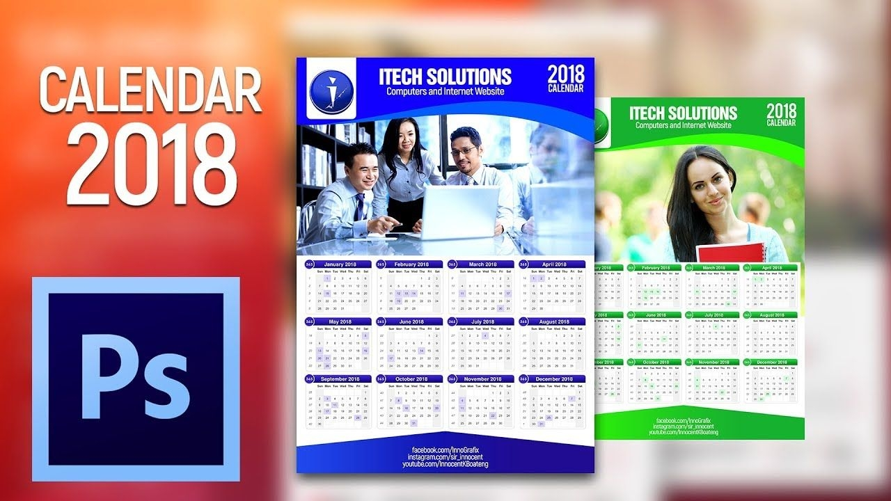 how to design a 2018 calendar in photoshop cs6 | tutorial
