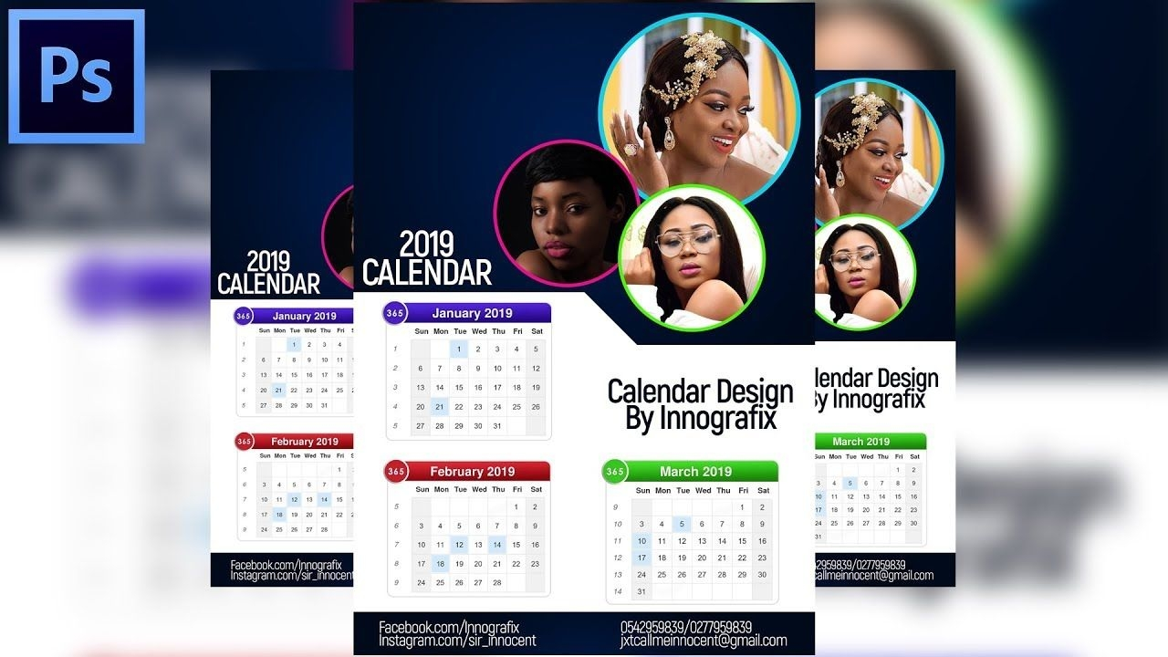 How To Design A Professional 2019 Calendar | Photoshop Tutorial