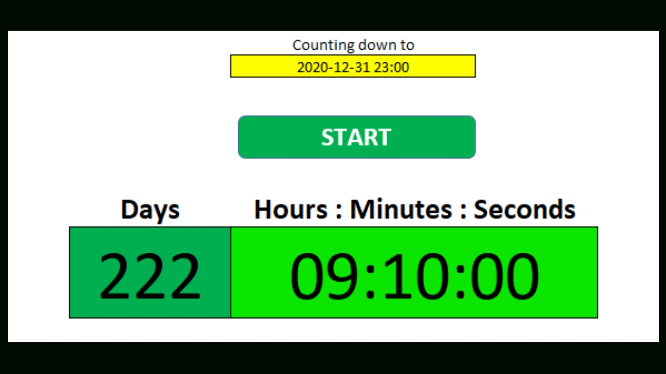 how to make a countdown timer in excel howtoexcel