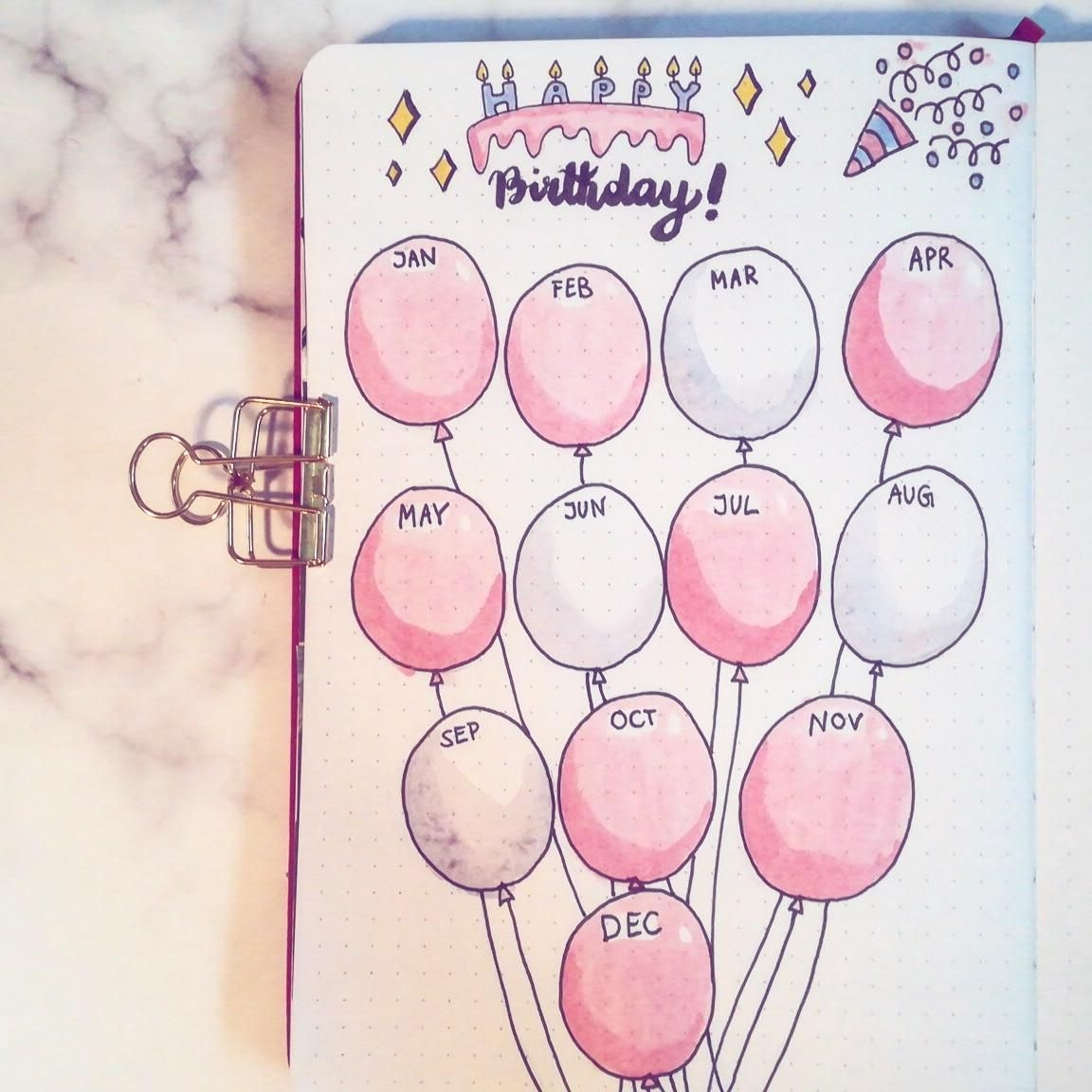 I Made A Birthday Calendar! : Bulletjournal