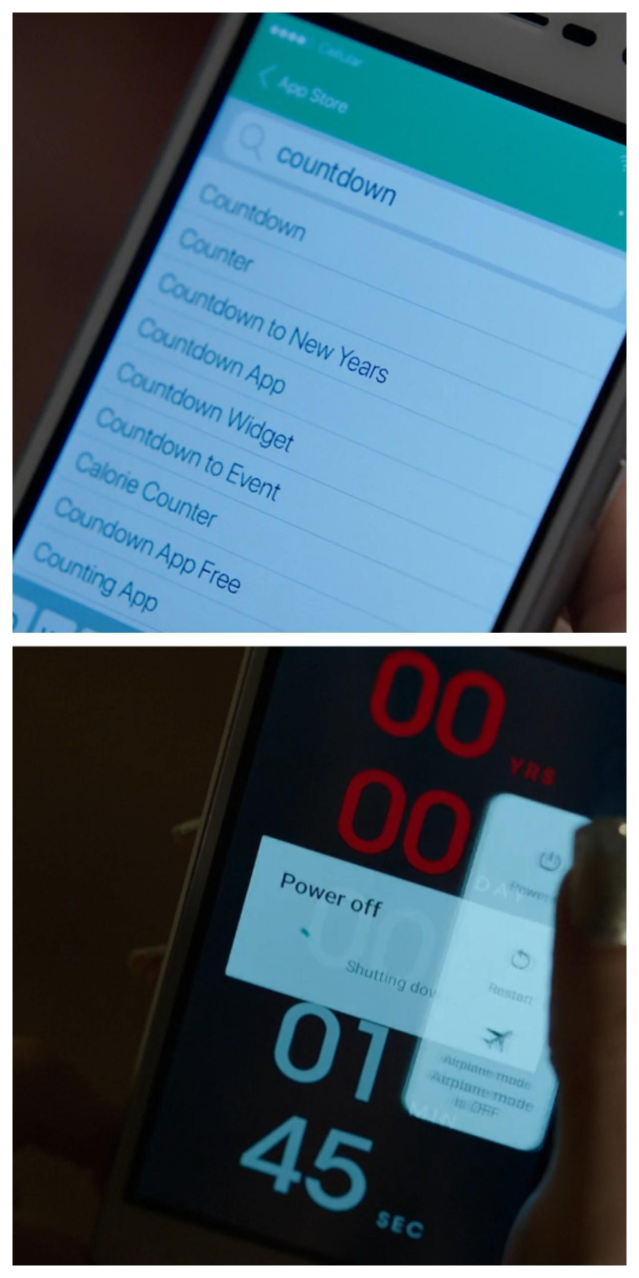in countdown(2019) iphone is used while downloading but