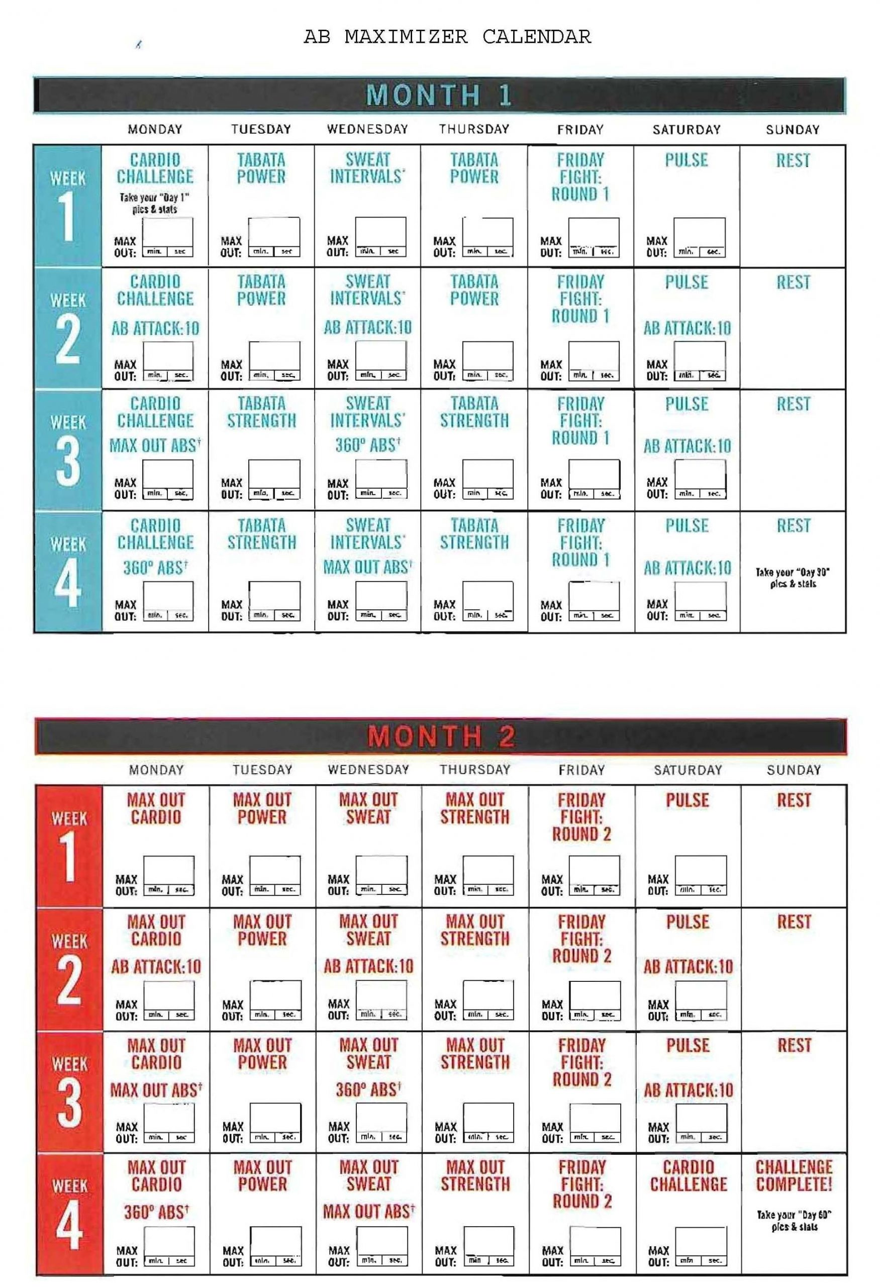 insanity ab maximizer calendar! hit tha floor starting 12