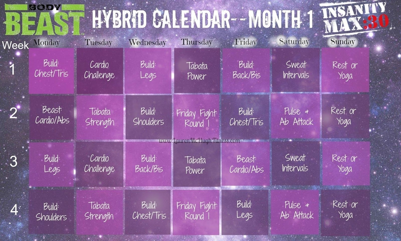 insanity calendar worksheet | printable worksheets and