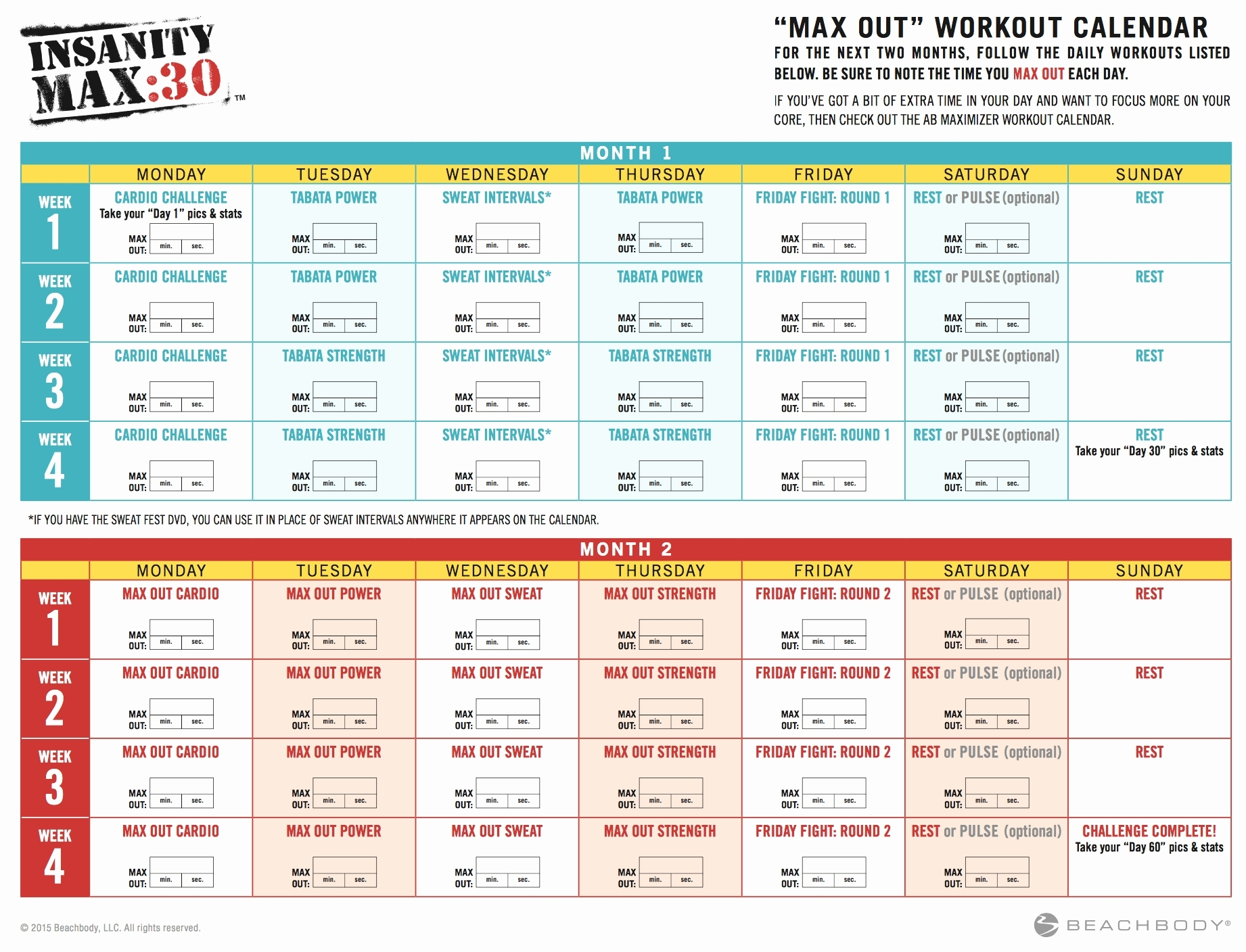 insanity max 30 calendar | calendar for planning