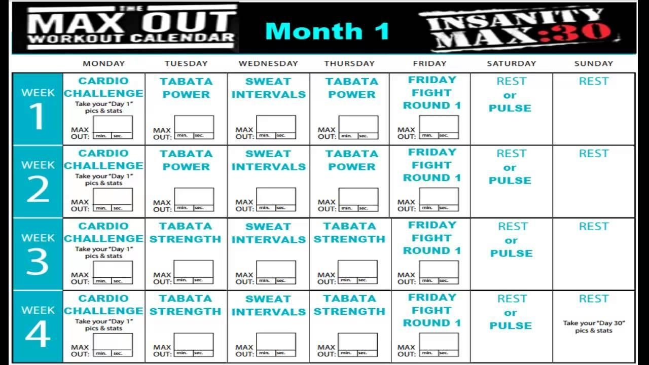 insanity max 30 calendar month 1 | insanity max 30 calendar