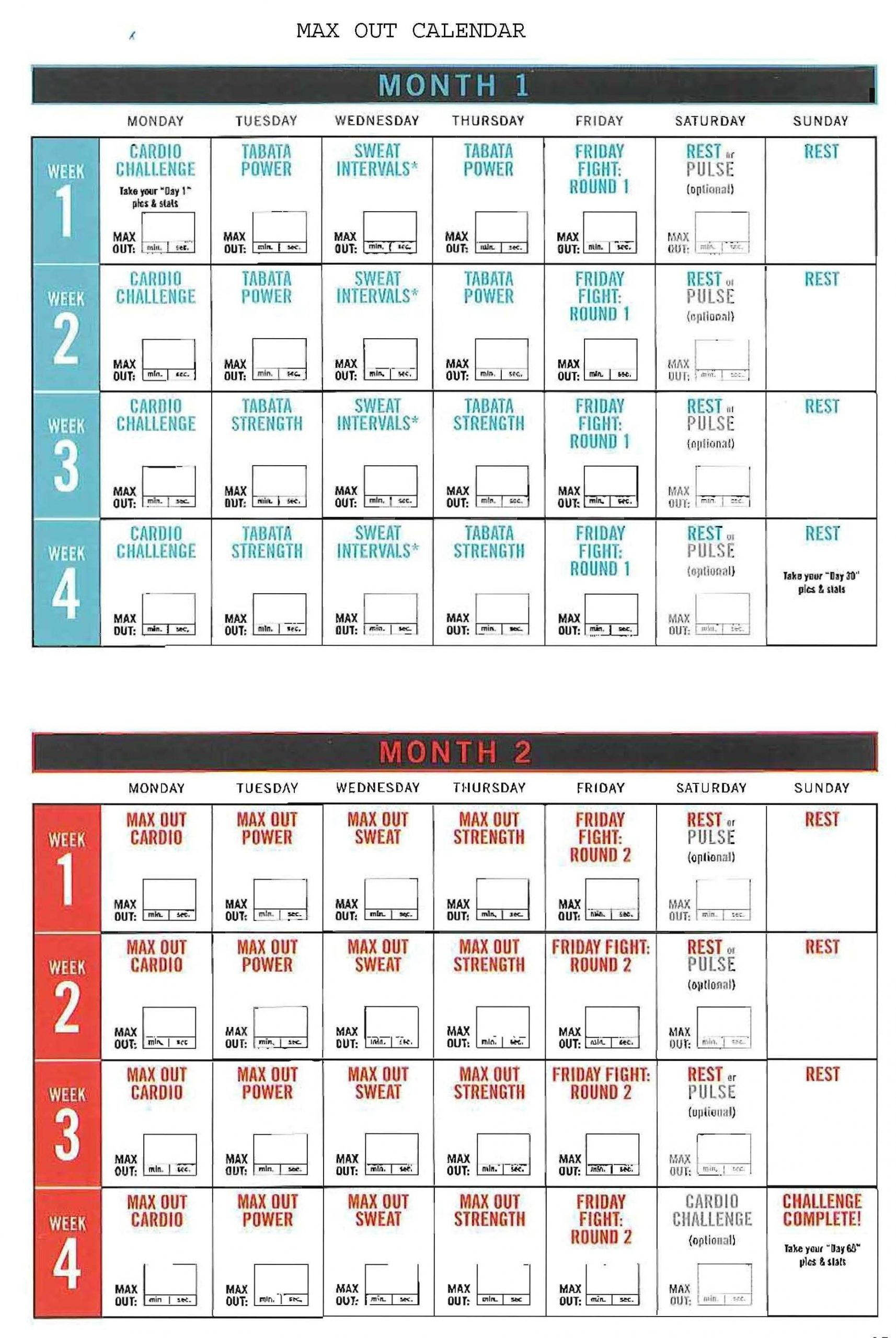 insanity max out calendar! hit tha floor starting 12/15/14