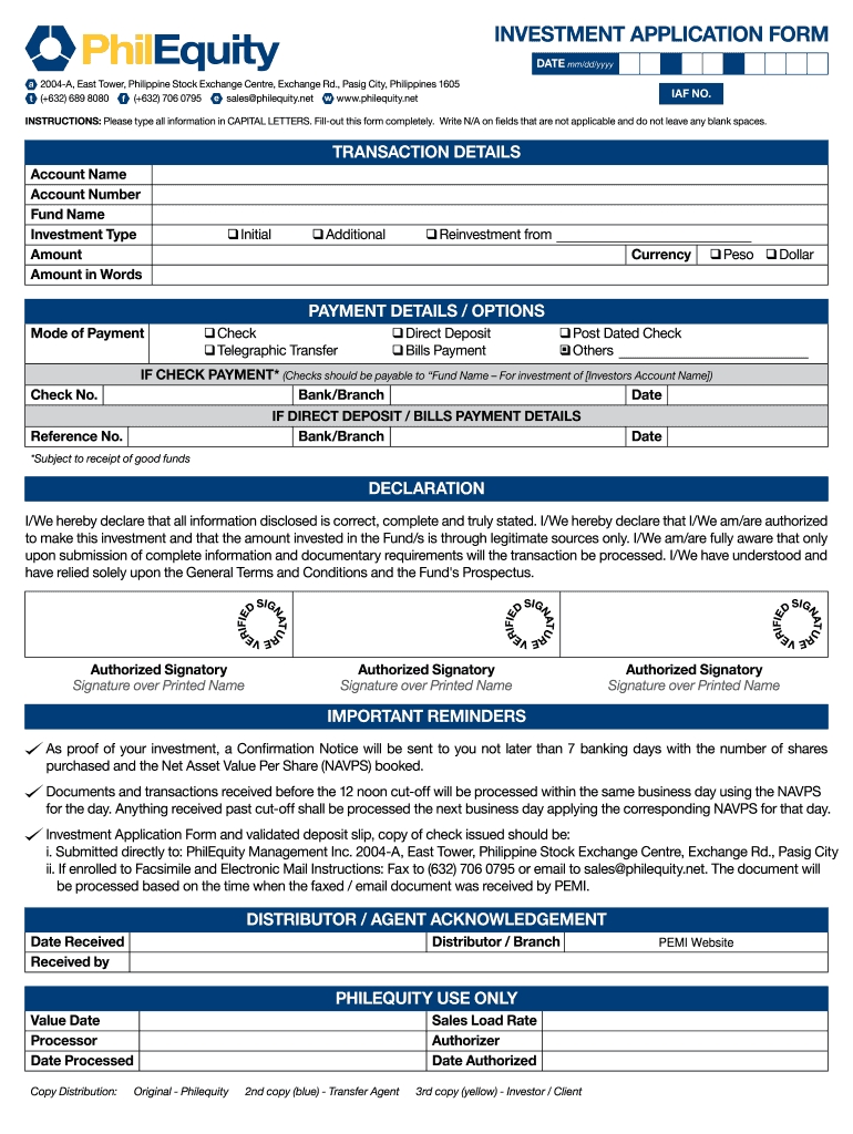 Investment Form Fill Out And Sign Printable Pdf Template | Signnow