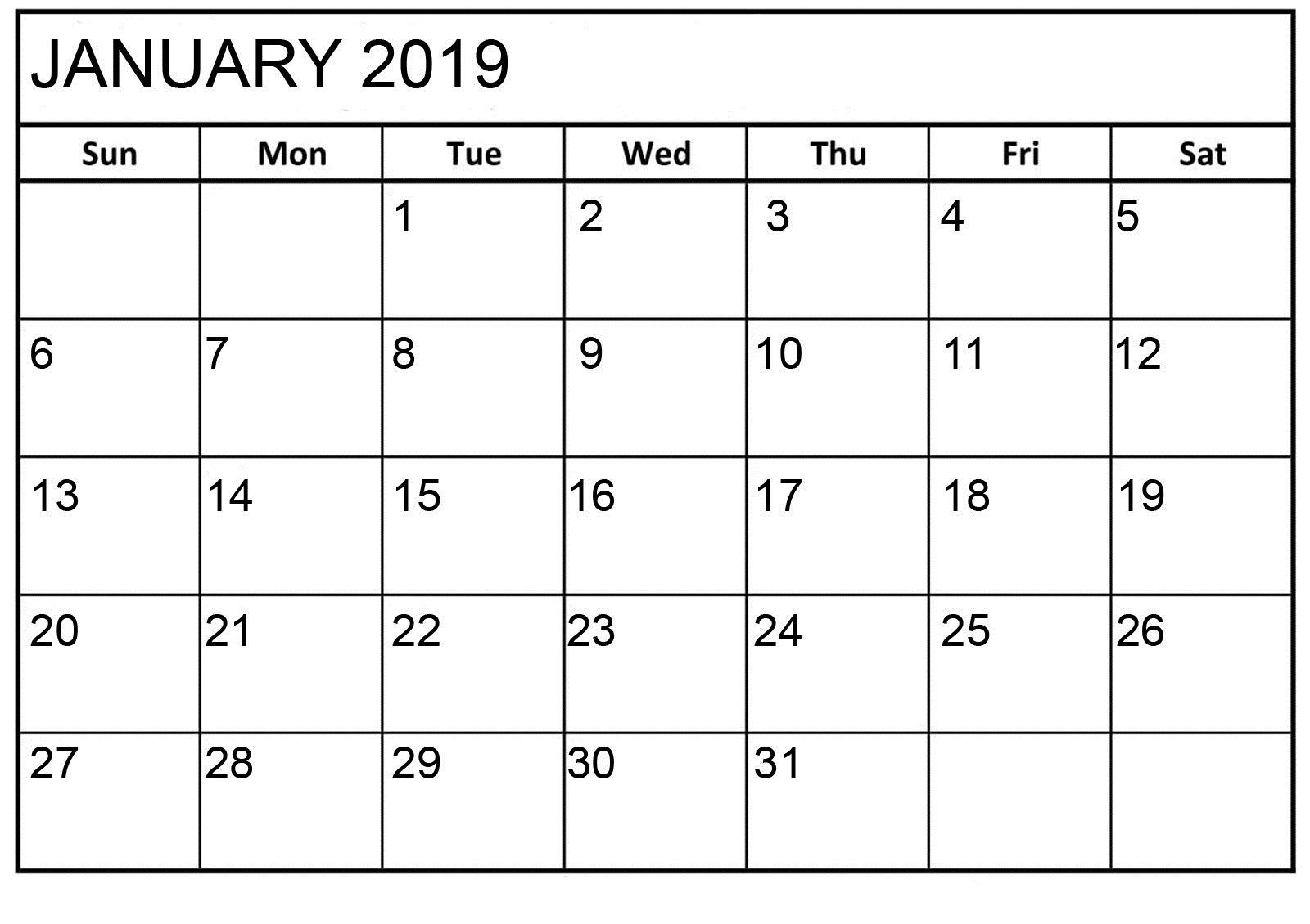 January 2019 Basic Editable Calendar | Printable Calendar