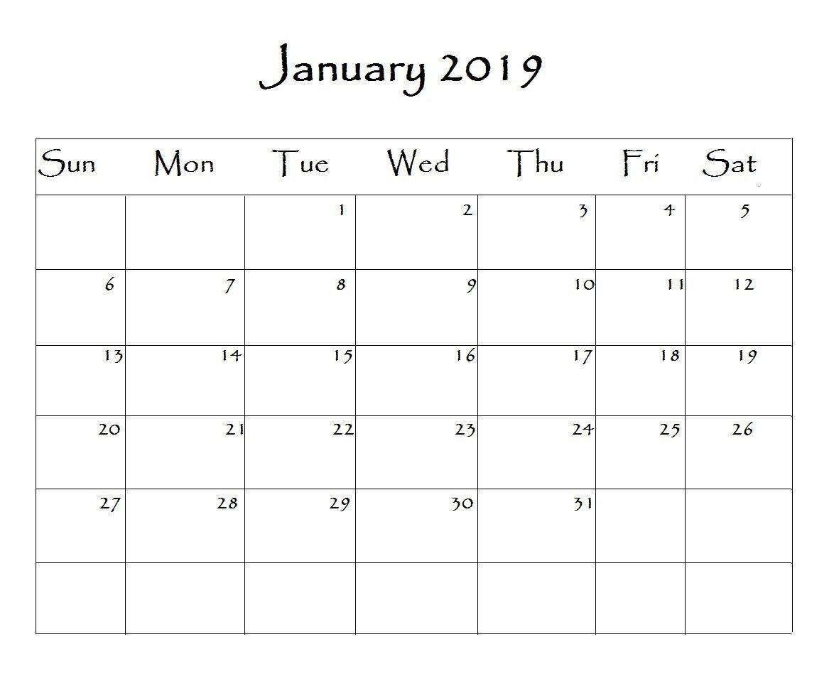 January 2019 Calendar Word | Print Calendar, Calendar Word