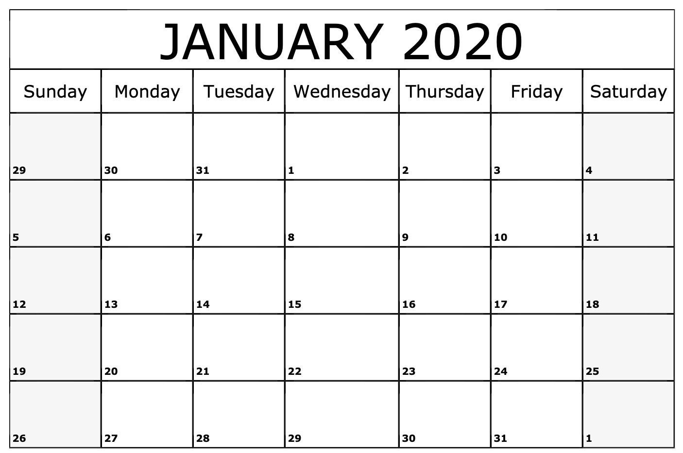 January 2020 Calendar Printable Template | Monthly Calendar
