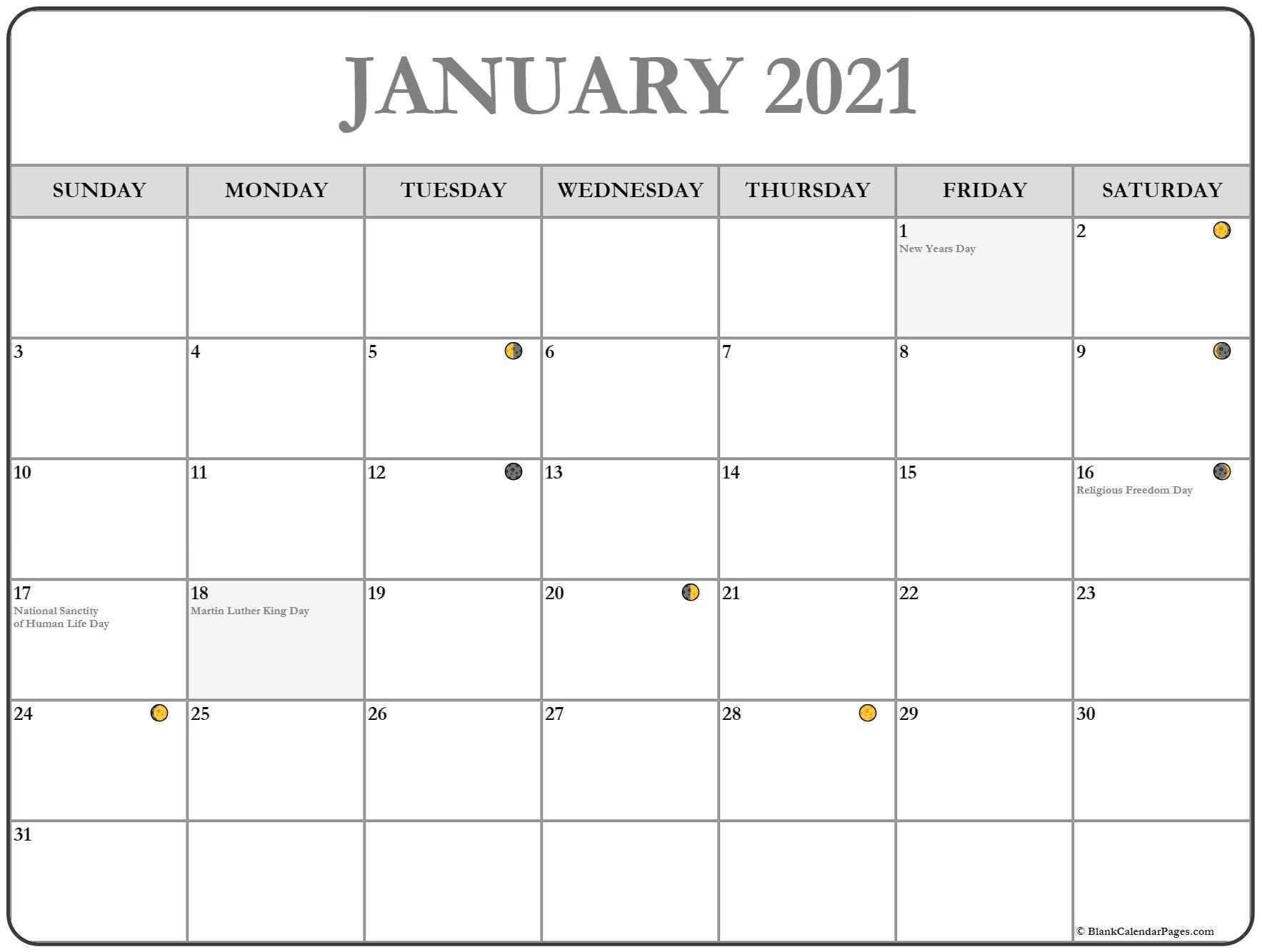 January 2021 Lunar Calendar | Moon Phase Calendar