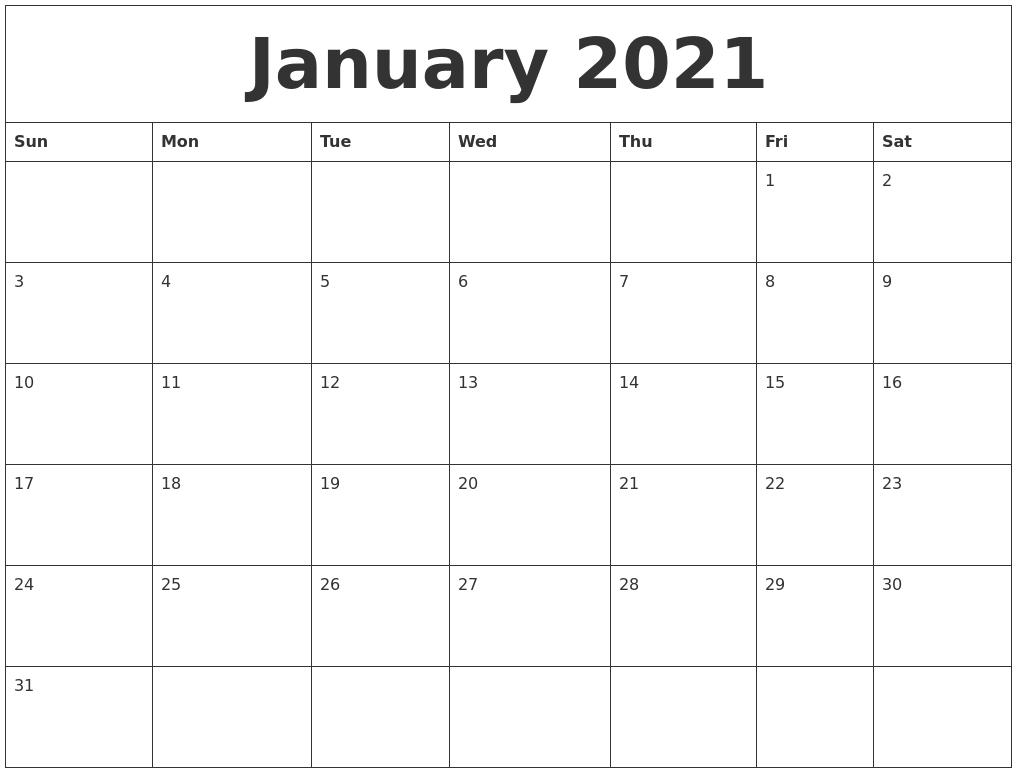 January 2021 Word Calendar