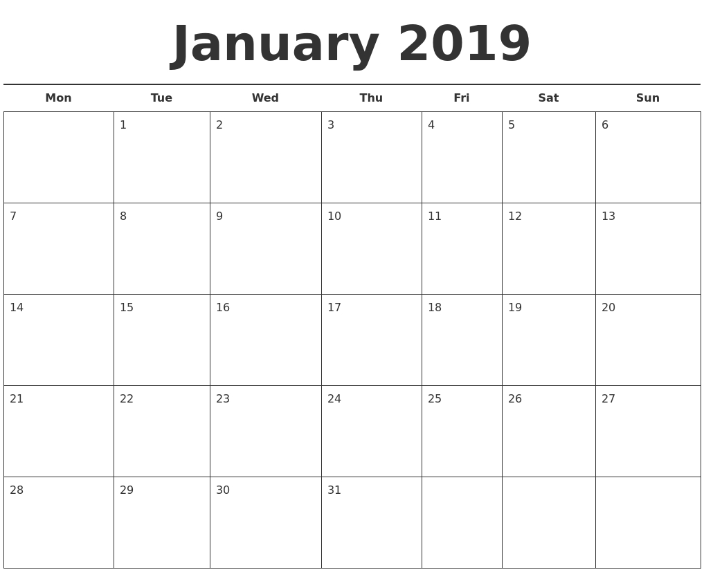 January Month Calendar 2019 | Excel Calendar Template