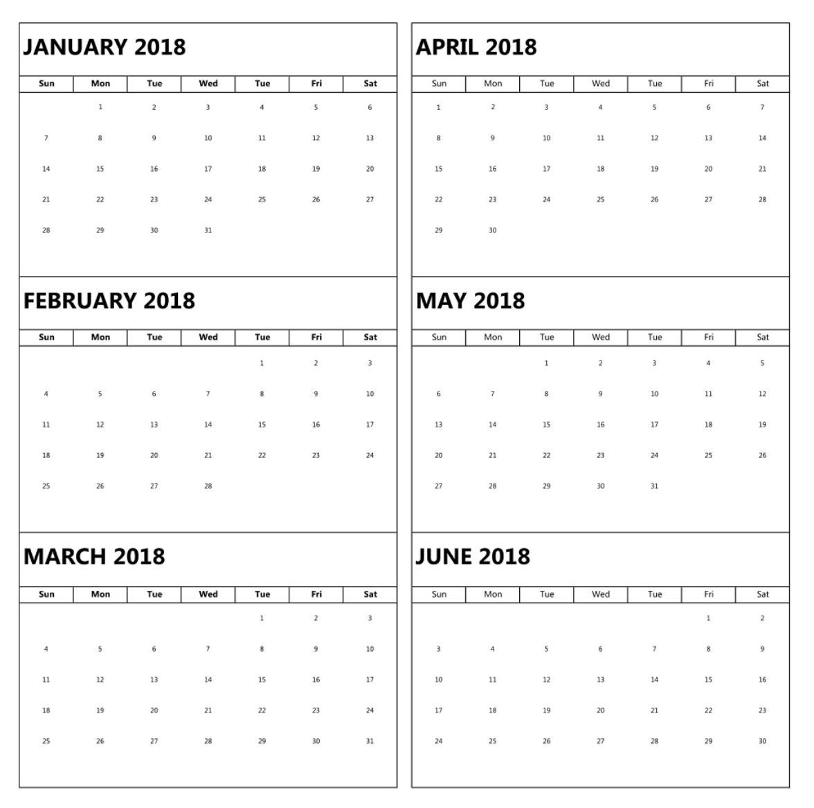 january to june 6 months calendar 2018 | calendar template